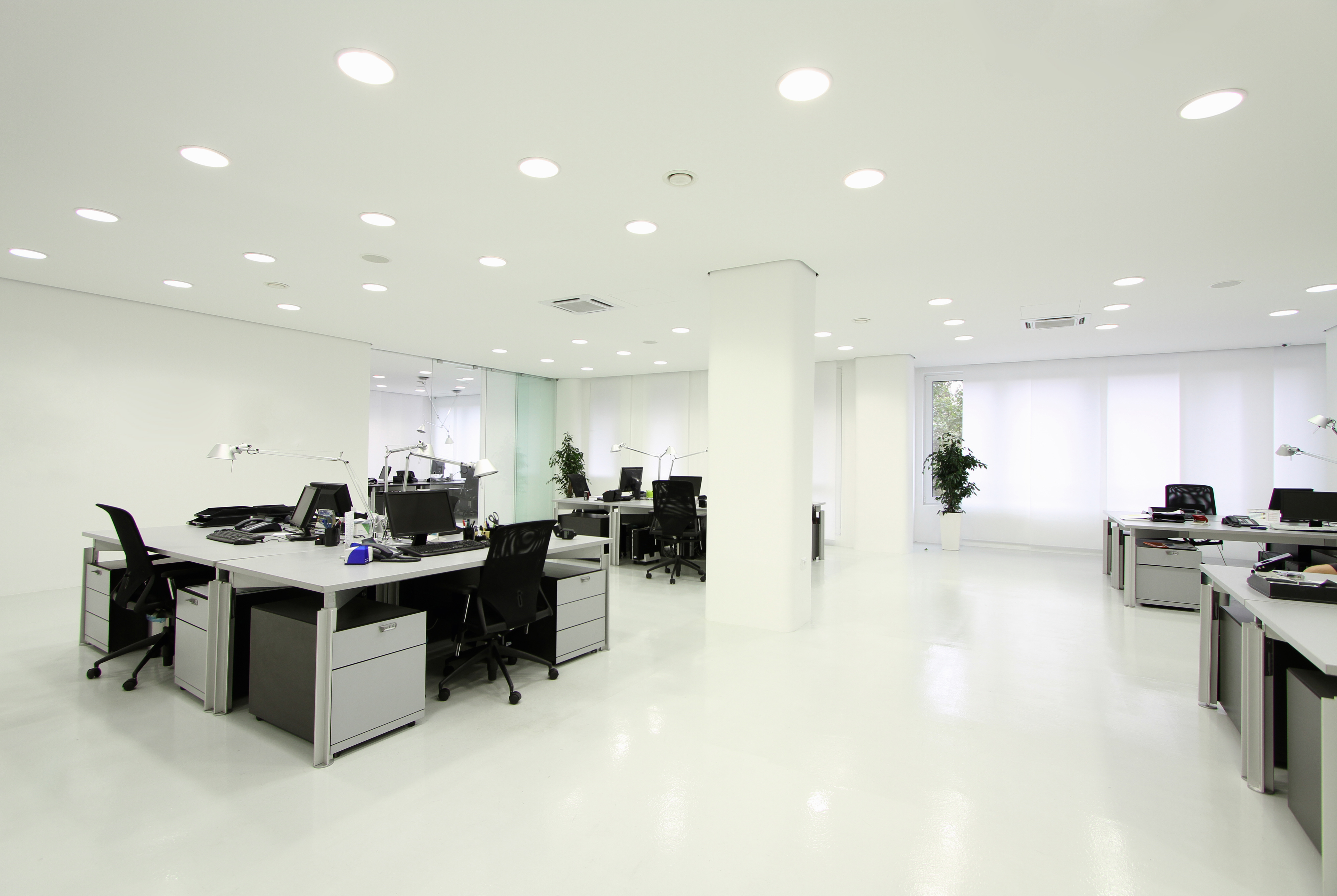 Office lit by LED lighting