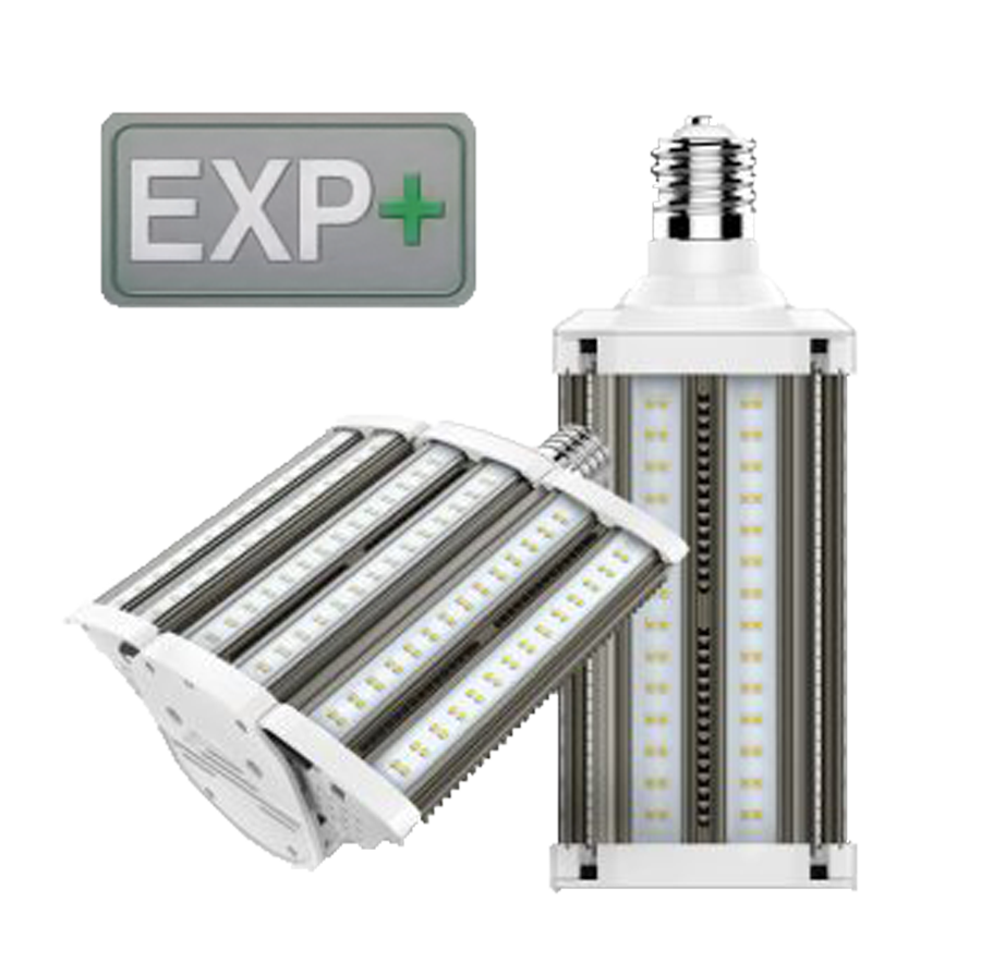 Exterior area LED lamp bulb with varying beam-angle